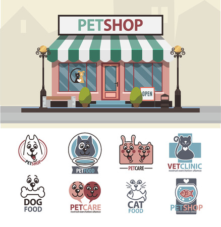 crippled: Veterinary pet shop for animals. Facade exterior view of animals market with vet logo badges collection set. Vector Illustration. Illustration