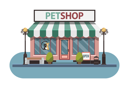 crippled: Veterinary pet shop for animals. Facade exterior view. Illustration. Illustration