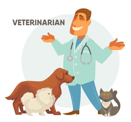 appointment: Smiling Male veterinarian. Vector illustration of a veterinarian with a cute puppy dog and cat .