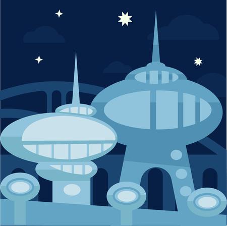 edifice: Future city landscape. Vector modern cityscape background illustration. Illustration