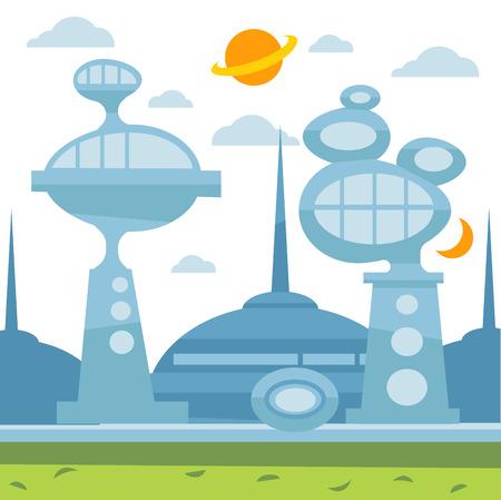 Future city landscape. Vector modern cityscape background illustration. Illustration