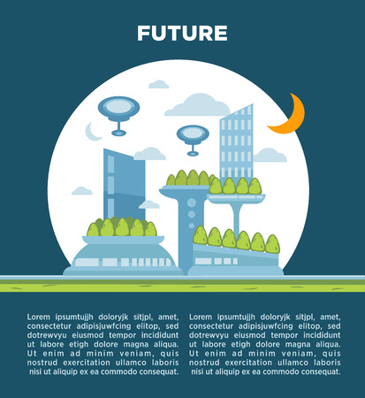 future city: Future city landscape concept. Vector modern cityscape background illustration with Copy Space . Illustration