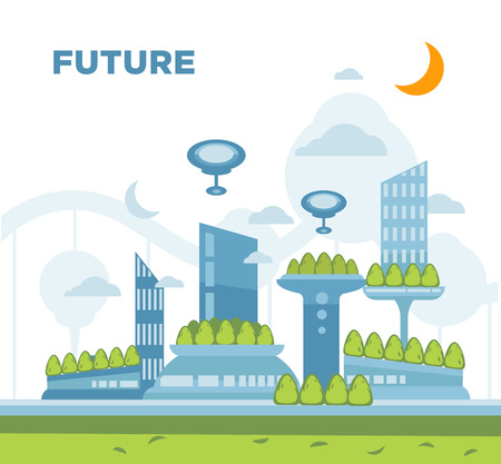 city: Future city landscape concept. Vector modern cityscape background illustration with Copy Space . Illustration