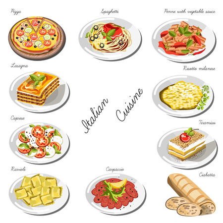 dough: Italian cuisine set. Collection of food dishes for the decoration of restaurants, cafes, menus. Vector Illustration. Isolated on white.
