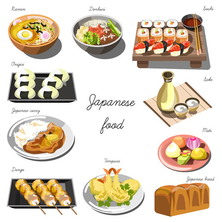 Japanese cuisine set. Collection of food dishes for the decoration of restaurants, cafes, menus. Vector Illustration. Isolated on white.