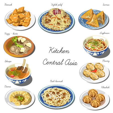 Central asia cuisine set. Collection of food dishes for the decoration of restaurants, cafes, menus. Vector Illustration. Isolated on white. Illustration