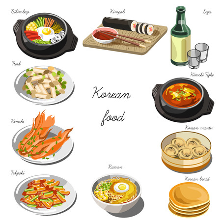 Korean cuisine set. Collection of food dishes for the decoration of restaurants, cafes, menus. Vector Illustration. Isolated on white. Illustration