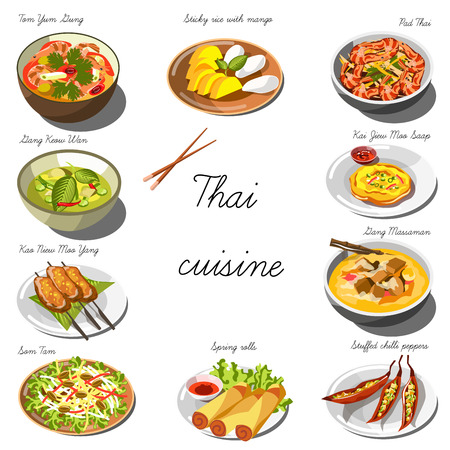 Thai cuisine set. Collection of food dishes for the decoration of restaurants, cafes, menus. Vector Illustration. Isolated on white. Vettoriali