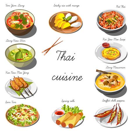 Thai jeu de cuisine. Collection de plats de nourriture pour la décoration des restaurants, des cafés, des menus. Vector Illustration. Isolé sur blanc.