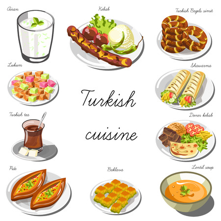 Turkish cuisine set. Collection of food dishes for the decoration of restaurants, cafes, menus. Vector Illustration. Isolated on white. Illustration