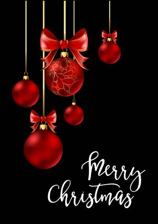 festive background: Christmas balls with red ribbon and bows on black background. Vector Illustration.