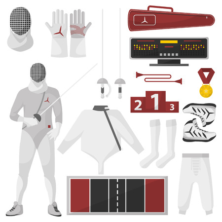 iron defense: Fencing sport equipment vector set. Isolated on white. Illustration