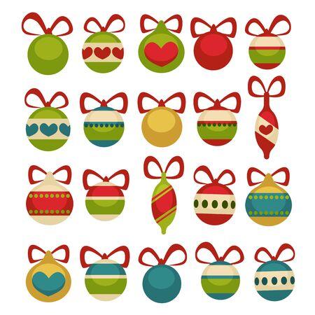 postcard: Christmas balls decoration. Cartoon style.