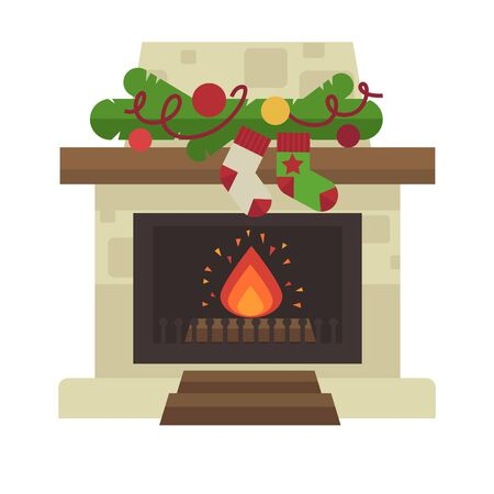 fireplace. Merry Christmas and harry New Year holiday decoration illustration. Illustration