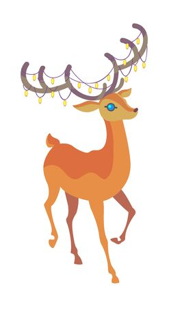 greeting season: Reindeer Christmas icon. Graceful deer collection. Holiday illustration