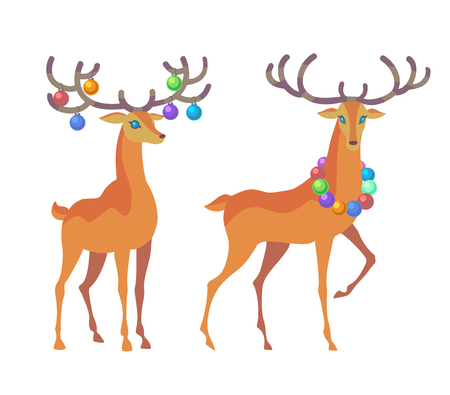 Reindeer Christmas icon. Graceful deer collection. Holiday vector illustration