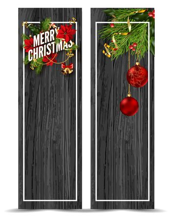 Merry Christmas web banners emplate. Design for your holiday invitation with pine branches, christmas flowers, jingle bells and mistletoe or holly berry on wooden background. Vector Illustration. Illustration
