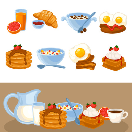 cereal bowl: Vector breakfast food set. Icons of healthy food orange juice, eggs and bacon, croissant, pancakes, cereal and waffles. Cartoon illustration isolated on white. Illustration