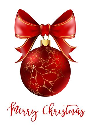 shiny background: Red Christmas ball with ribbon and a bow, decoration element for christmas decoration isolated on white background. Vector illustration.