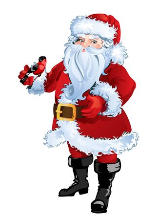 Christmas greeting card background poster with Santa Claus. Vector illustration.