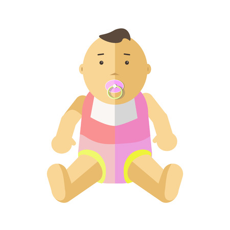 little child: Cute little baby 0-12 months. Child with pacifier. Cartoon character of toddler, infant, kid. Flat style. Vector illustration isolated on white background.