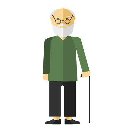 old person: Old lady man or grandfather. Icon of elderly male person with smile. Cartoon character in flat style. Vector isolated illustration on white background. Illustration