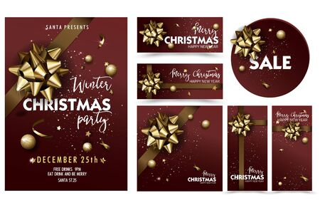 holiday invitation: Holiday Merry Christmas party layout poster template set. Christmas Design for your holiday invitation. Vector Illustration. Illustration