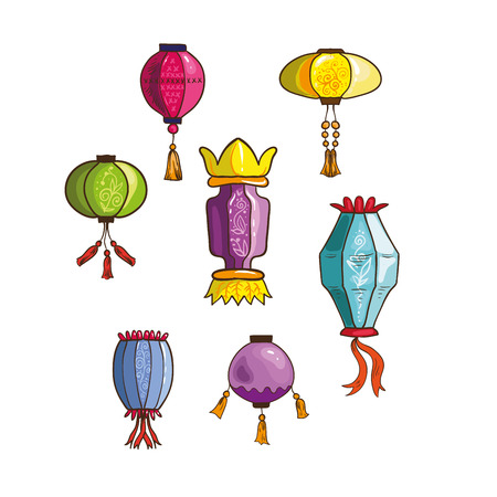 Set of Chinese lanterns. Fun vector illustration different shapes and colors. Isolated .