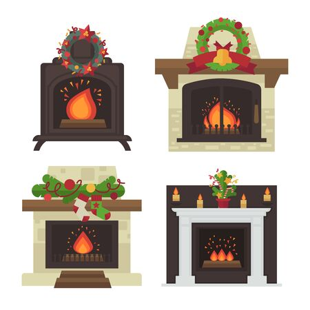 Vector fireplace. Merry Christmas and harry New Year holiday decoration illustration set.