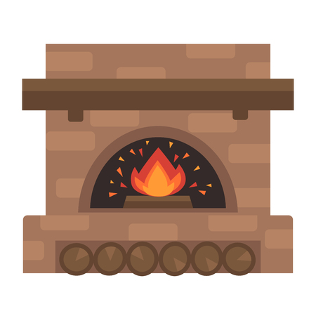 hot: Home fireplace with fire. Vector Illustration. Flat icon design. Illustration isolated on white background.