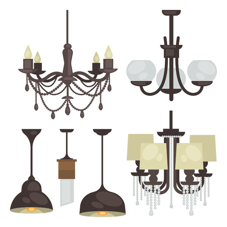 decoration style: Lamp set isolated. Interior light design. Electricity lamps. Chandeliers Lamps light interior decoration modern and classic style.