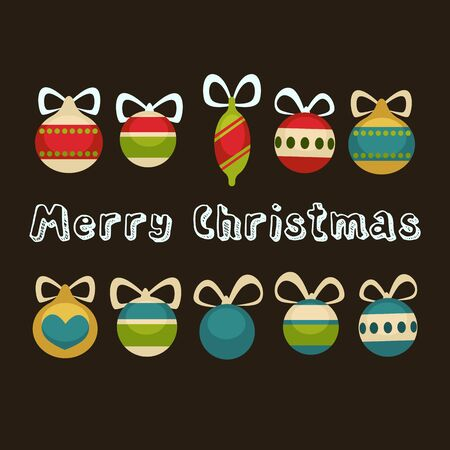 holiday greeting: Merry Christmas greeting card. Holiday decorations Illustration