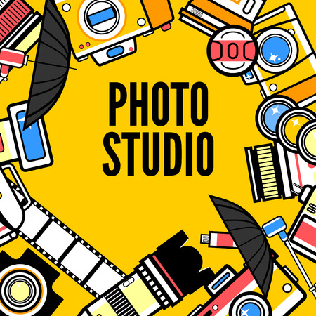 Photographer or photostudio concept design illustration. Ilustração