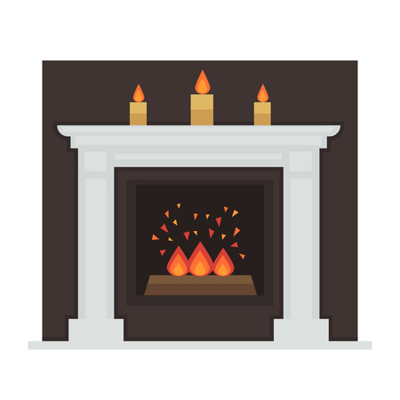 home icon: Home fireplace with fire. Vector Illustration