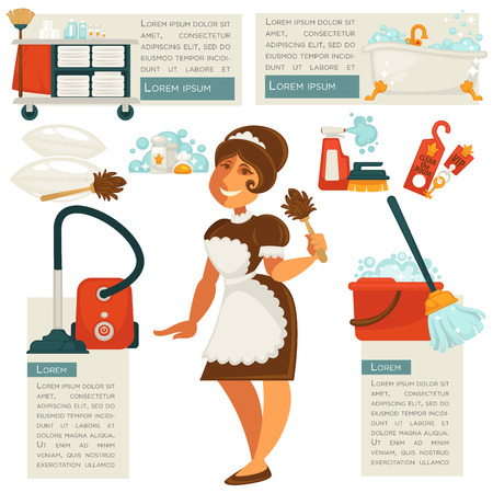 vacuuming: Vector housemaid and cleaning supplies. Illustration