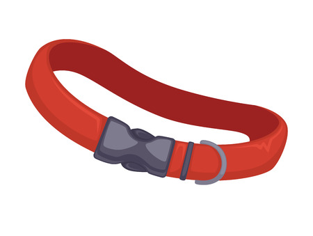 Vector red leather dog collar.