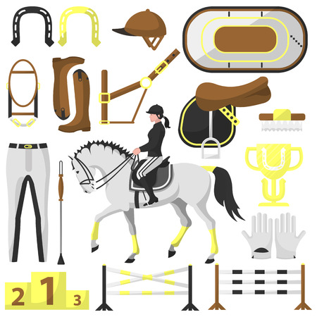 Vector equipment for riding, equestrian Illustration