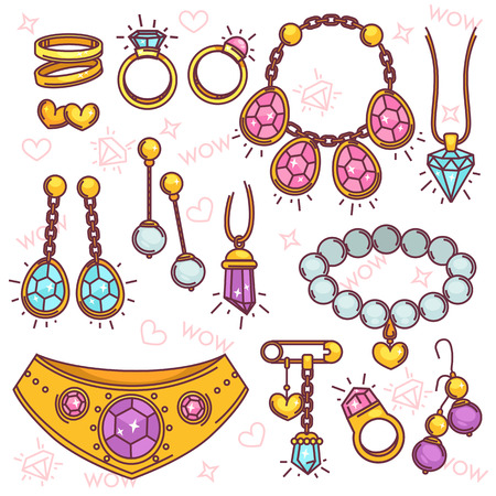 Fashion jewelry vector set.