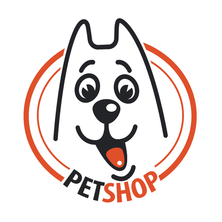 petshop: Pet shop with a dog head. Illustration