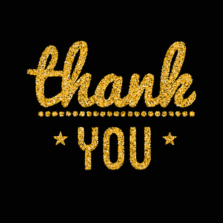 caes: Thank you golden lettering design with glitter pieces. Vectores