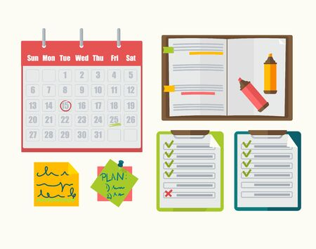 note paper: Calendar with note, notebook, plan,