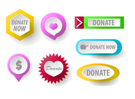 Donate button collection. Set of web buttons for charity