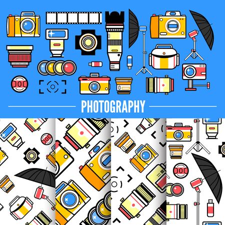 Photograpy concept design with set of photo equipment