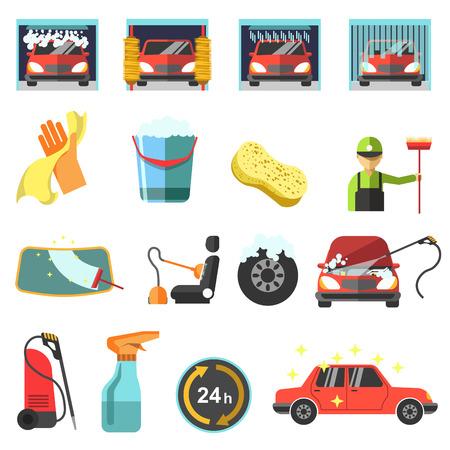 Flat car wash icons.