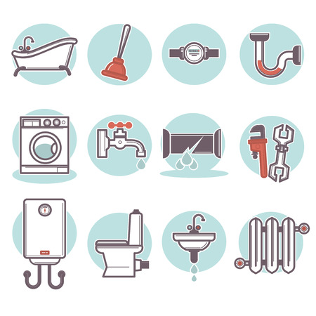 home icon: flat bathroom icons set.