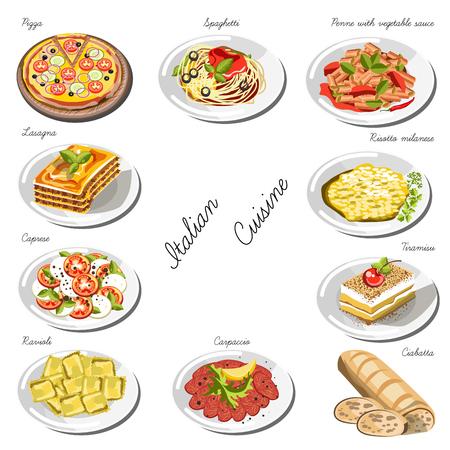 conjunto de la cocina italiana. Colección de platos de comida Ilustración de vector