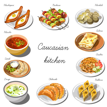 cuisine: Caucasian cuisine set. Collection of food dishes Illustration