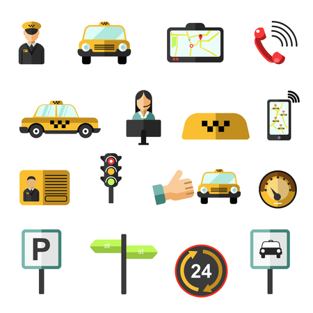operator: Taxi service icons set.
