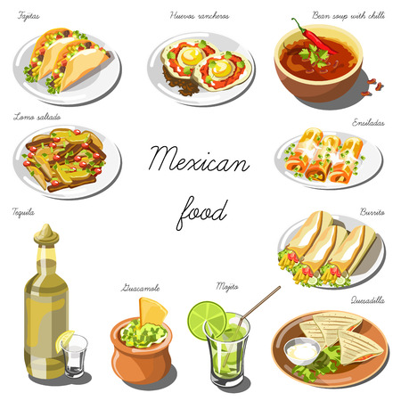 plate: Mexican cuisine set. Collection of food dishes