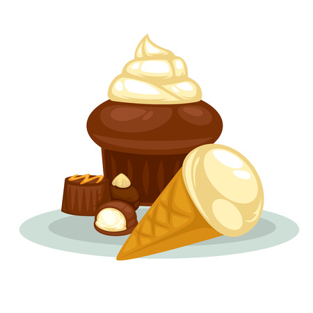 cupcake illustration: Dessert: cupcake, icecream and candy. Illustration